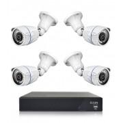Kit CFTV Elgin DVR 4 Canais 1080N 4 Cameras Bullet 4 em 1 AHD CVI TVI CVBS 720p 1 Megapixel 3,6mm Angulo de Visao 82º 18 Leds SMD IP66 IR 25 Metros