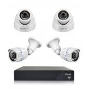 Kit CFTV Elgin DVR 4 Canais 1080N 2 Cameras Bullet AHD 1 HD 720P 1 Megapixel 3,6mm 18 Leds SMD e 2 Cameras Dome AHD HD 720p 1 Megapixel 2,8mm 18 Leds SMD