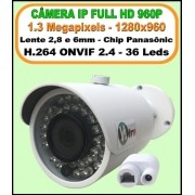 Camera ip onvif 2.4 hd 1.3 mp 960P 2,8 ou 6mm ir 40mt IP66 p2p bullet 36 leds h.264 1280X960