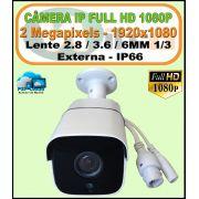 Câmera Bullet IP Full HD 2 Megapixels 1080p 2.8 / 3.6 / 6MM IR 35 METROS IP66 H.264 Onvif