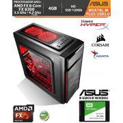 Computador Amd FX-8300 3.3Ghz Base / 4.2Ghz Turbo - Asus M5A78L-M PLUS USB3.0 VGA HDMI DVI - Memória DDR3 4gb + Hd SSD 120Gb Acessórios