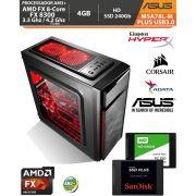 Computador Amd FX-8300 3.3Ghz Base / 4.2Ghz Turbo - Asus M5A78L-M PLUS USB3.0 VGA HDMI DVI - Memória DDR3 4gb + Hd SSD 240Gb Acessórios