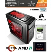 Computador - PC Gamer AMD Ryzen 5 2400G 3.4Ghz Video Graphics Vega 11 - MSI A320M Gaming Pro AM4 - Memória Corsair DDR4 8Gb - HD SSD 120Gb + Hd 1Tb