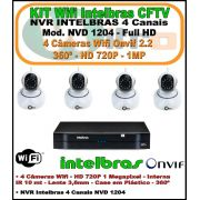 Kit Intelbras 4 Canais NVR NVD 1204 - 4 Câmeras IP Wifi 1 Megapixel 720p 360º Interna Onvif 3,6mm
