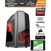 PC Gamer Basic Amd Apu A4 7300 4 ghz Radeon HD8470d 4gbFonte Real e Gabinete Gamer Hd Ssd Acessorios