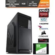 PC Gamer Medium Amd Apu A6 7400K 3.9Ghz Radeon R5 4GB + Hd SSD + Acessórios