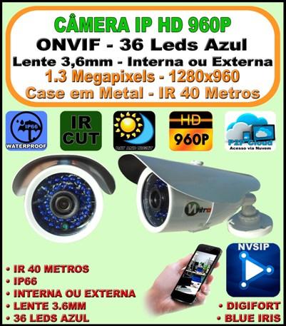 Câmera Ip Onvif 2.0 Hd Ir Bullet 1.3mp 3,6mm 960p 40m 36 Leds Azul 2.0 H264