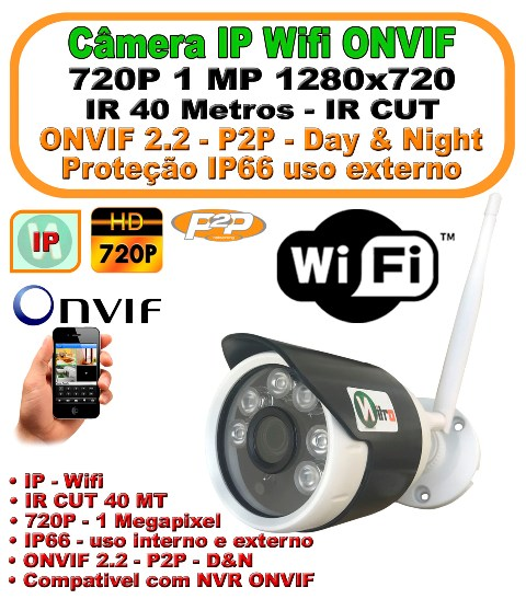 Camera IP Wifi Onvif HD 720p 1 Megapixel Onvif 1080x720 40mt infra IP66