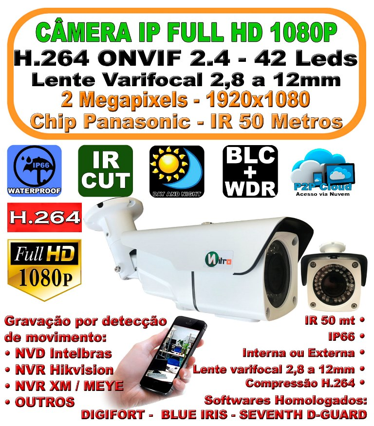 Camera Ip Full Hd 2.0 Mp 1080p 1920x1080 H.264 Onvif  2.4 Varifocal 2,8mm A 12mm Ir 50mt  Ip66 P2p  42 Leds