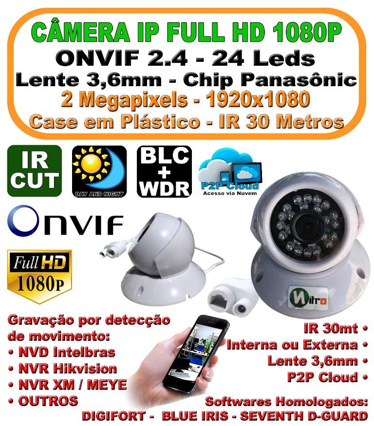 Camera Ip Dome Full Hd 2.0 Mp 1080p Onvif 2.4 3,6mm Ir 30mt P2p Plastico 24 Leds H.264