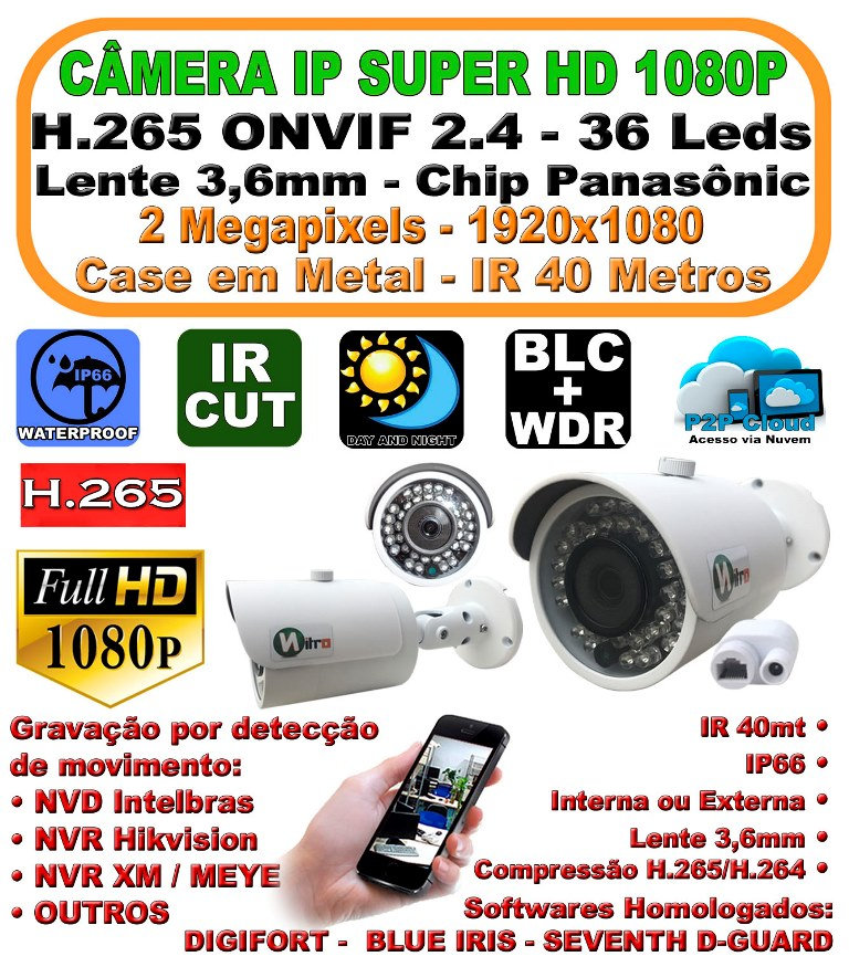 Camera ip onvif 2.4 full hd 2 mp 1080P 3,6mm ir 40mt IP66 p2p bullet 36 leds h.264 1920X1080