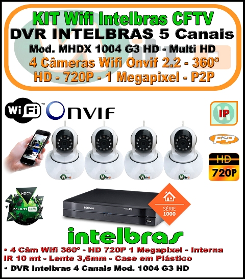 Kit Wifi Intelbras Nvr 5 Canais Multi Hd 1004 G3  5 Em 1 + 4 Câmeras Onvif Wifi 360 HD 720P 1 Megapixel 3,6mm Sensor 1/4