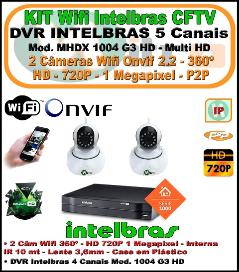 Kit Wifi Intelbras Nvr 5 Canais Multi Hd 1004 G3  5 Em 1 + 2 Câmeras Onvif Wifi 360 HD 720P 1 Megapixel 3,6mm Sensor 1/4