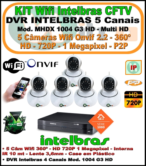 Kit Wifi Intelbras Nvr 5 Canais Multi Hd 1004 G3  5 Em 1 + 5 Câmeras Onvif Wifi 360 HD 720P 1 Megapixel 3,6mm Sensor 1/4
