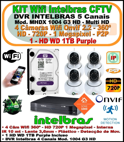 Kit Wifi Intelbras Nvr 5 Canais Multi Hd 1004 G3  5 Em 1 + 4 Câmeras Onvif Wifi 360 HD 720P 1 Megapixel 3,6mm Sensor 1/4 + 1 HD WD 1Tb Purple