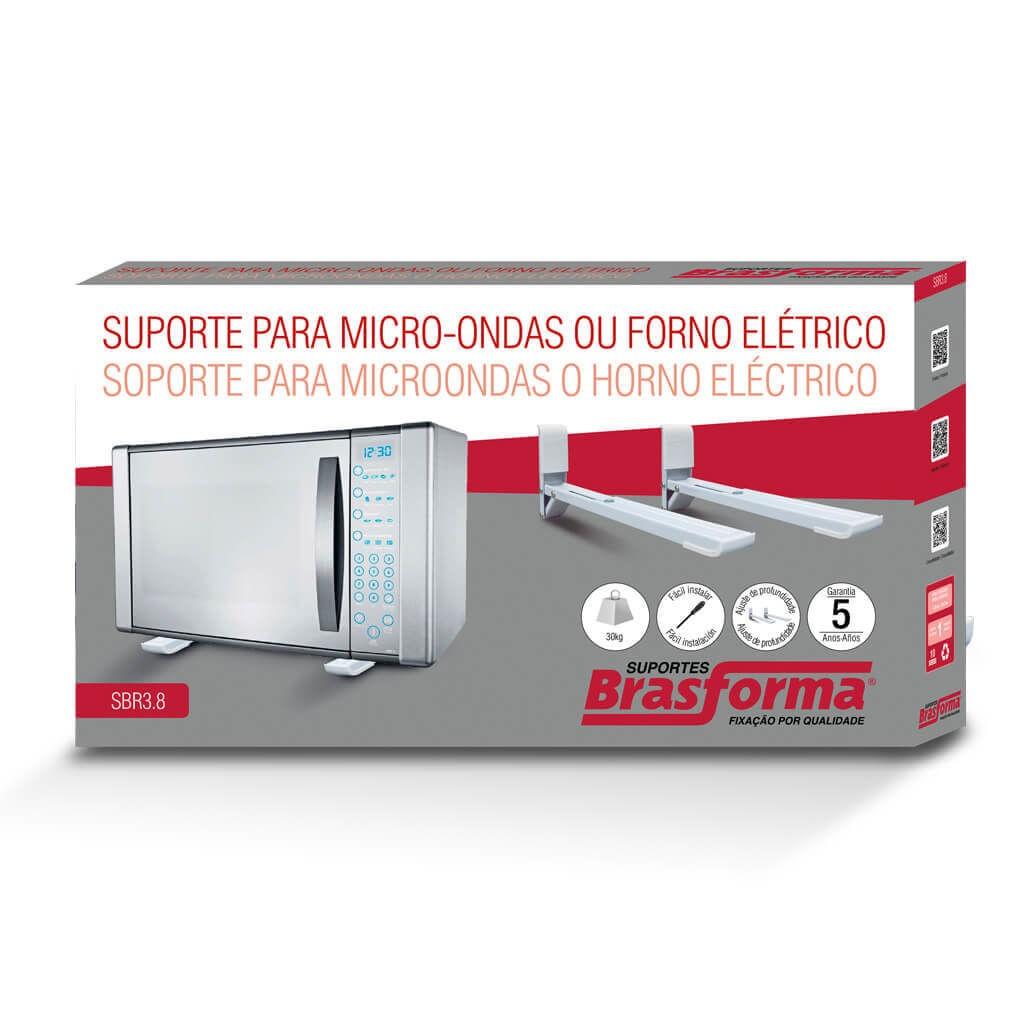 Suporte para Forno e Micro ondas SBR38 Branco Com carga máxima de 30kg Feito de Aço Carbono