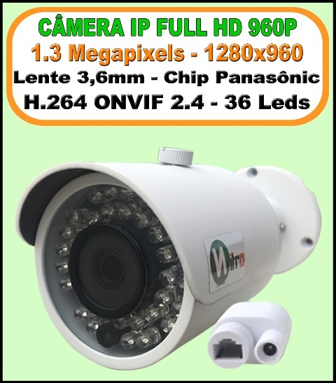 Camera ip onvif 2.4 full hd1.3 mp 960P 3,6mm ir 40mt IP66 p2p bullet 36 leds h.264 1280X960