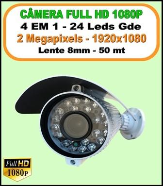 Camera Bullet Full HD 1080P 2 Megapixels 4 em 1 Lente de 8mm 1/3 Ip66 1920x1080