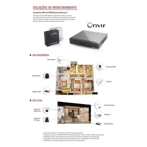 Gravador Digital / Nvr Foscam Ip Onvif Full Hd 04 Canais 960p / 04 Canais 720p