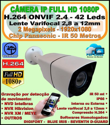 Camera Ip Full Hd 2.0 Mp 1080p 1920x1080 H.264 Onvif  2.4 Varifocal 2,8mm A 12mm Ir 50mt  Ip66 P2p