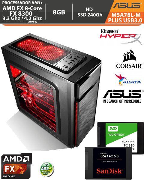 Computador Amd FX-8300 3.3Ghz Base / 4.2Ghz Turbo - Asus M5A78L-M PLUS USB3.0 VGA HDMI DVI - Memória DDR3 8gb + Hd SSD 240Gb Acessórios
