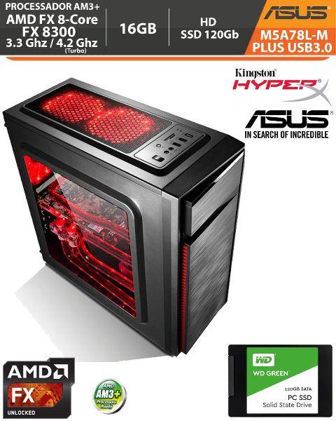 Computador Amd FX-8300 3.3Ghz Base / 4.2Ghz Turbo - Asus M5A78L-M PLUS USB3.0 VGA HDMI DVI - Memória DDR3 16gb + Hd SSD 120Gb Acessórios
