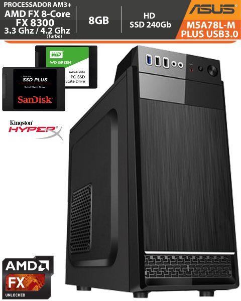 Computador Corporativo Amd FX-8300 3.3Ghz Base / 4.2Ghz Turbo - Asus M5A78L-M PLUS USB3.0 VGA HDMI DVI - Memória DDR3 8gb + Hd SSD 240Gb + Acessórios