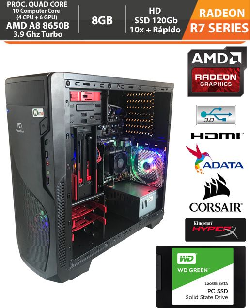 Computador - PC Gamer Amd 6th Gen Pro A8 8650b APU R7 3.2GHz (Turbo 3.9) 8gb + HD SSD + Acessórios