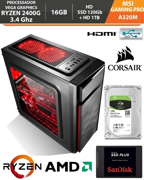 Computador - PC Gamer AMD Ryzen 5 2400G 3.4Ghz Video Graphics Vega 11 - MSI A320M Gaming Pro AM4 - Memória Corsair DDR4 16Gb - HD SSD 120Gb + Hd 1Tb