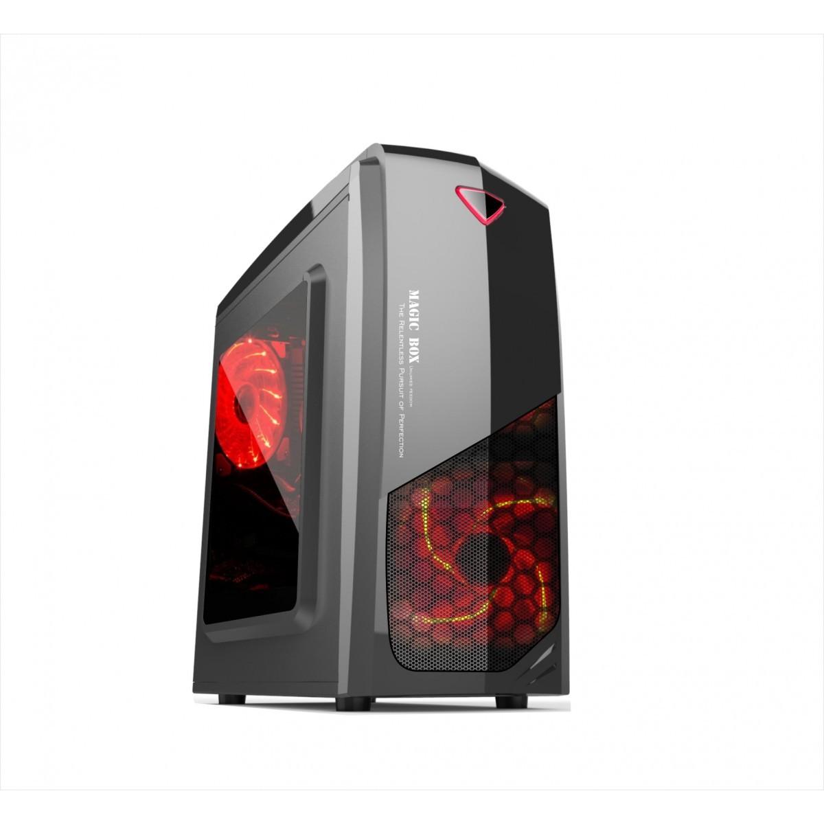 Gabinete Gamer ATX Newdrive G1903 Sem Fonte com 4 Coolers 12cm Preto com leds vermelho Sem baia