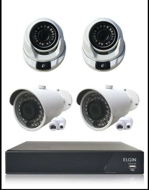 Kit Cftv Ip Nvr 4 Canais 1080P Full HD + 2 Câmeras IP Bullet 1.3 Mp 960P 3,6mm 36 Leds IR 30 Metros IP66 + 2 Câmeras IP Dome 1.3 Mp 960P 2,8mm 18 Leds SMD IR 25 Metros IP66