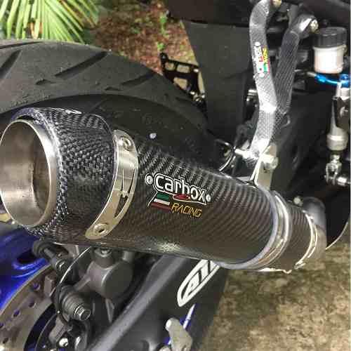 Ponteira Escape Gp Tech Evo Carbono Full 2x1 - Yamaha R3
