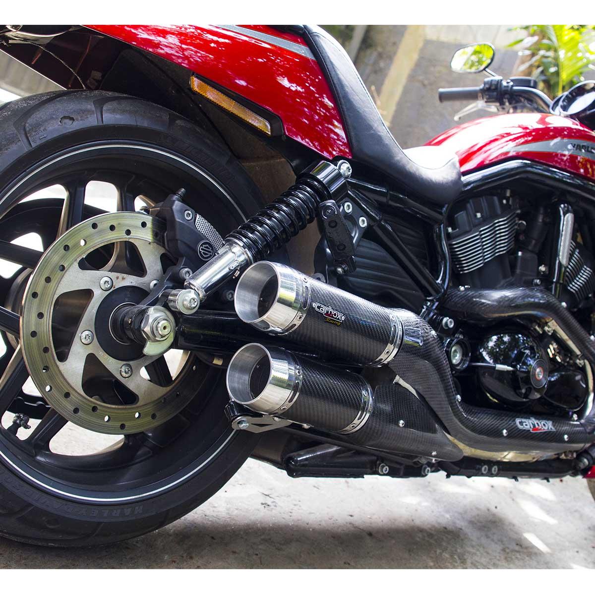 Ponteira Dupla Evolution Carbon p/ Harley Davidson V-Rod