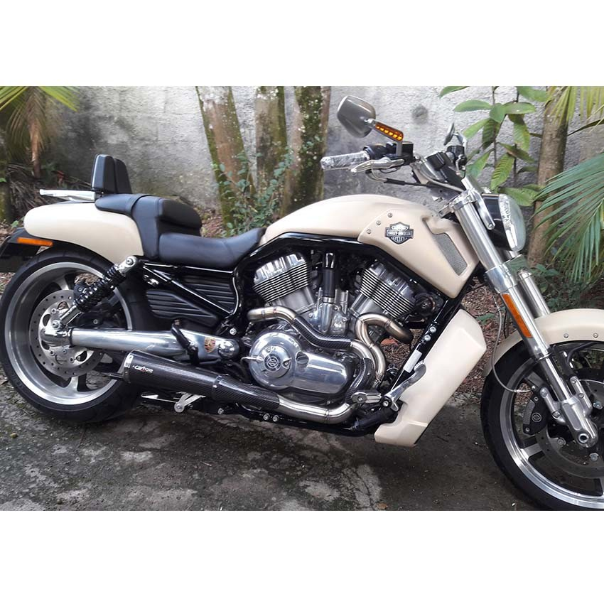 Escapamento Full 2x1 + Ponteira Evolution Carbono Harley Davidson V-Rod Muscle