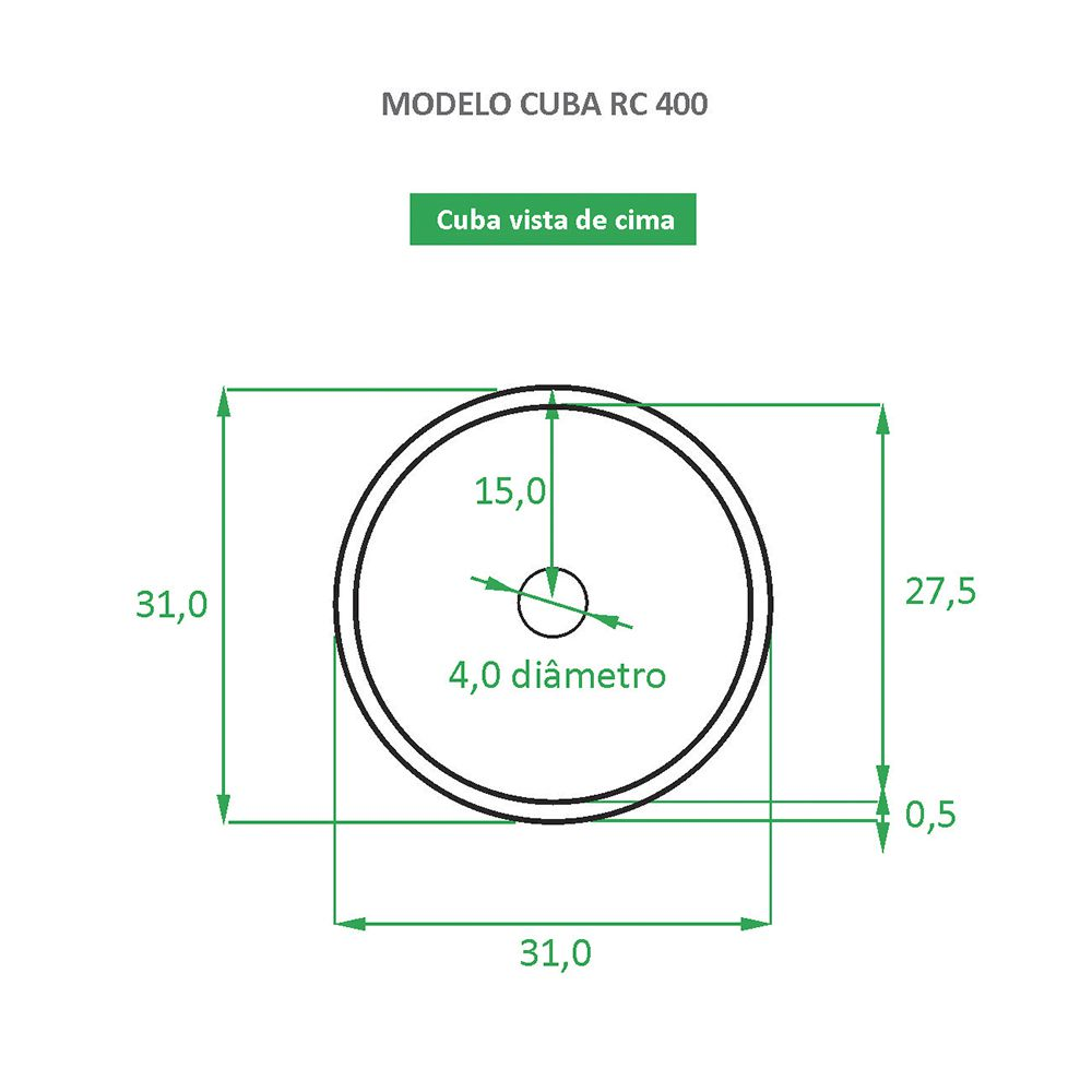 Cuba de Apoio Cerâmica Reno RC 400