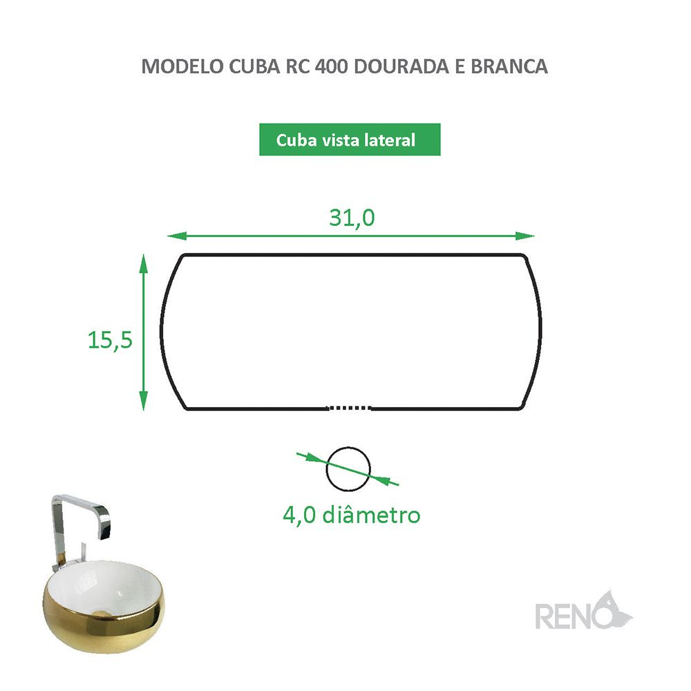 Cuba de Apoio Cerâmica Reno RC 400 branca e dourada