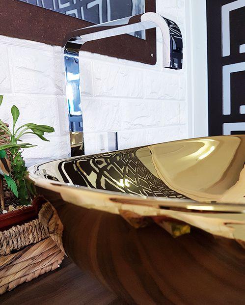 Cuba de Apoio Cerâmica Reno RC 8000 Dourada - Lançamento!
