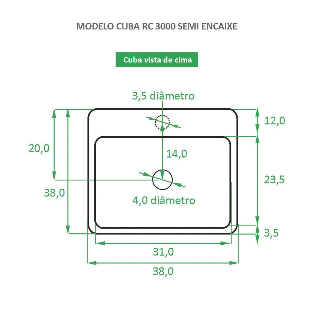 Cuba de Semi Encaixe Cerâmica Reno RC 3000