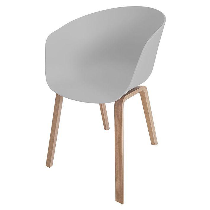 Poltrona Wood Cinza / Branca