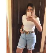 Bermuda Jeans Clara com Desfiado e Rasgadinhos