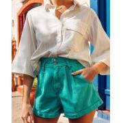 Camisa Manga Curta com Bolso Listrada