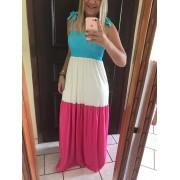 Vestido Alcinha Longo com Detalhes em Lastex Tricolor