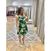 Vestido Alcinha Midi Verde com Estampa Floral com Faixa na Cintura