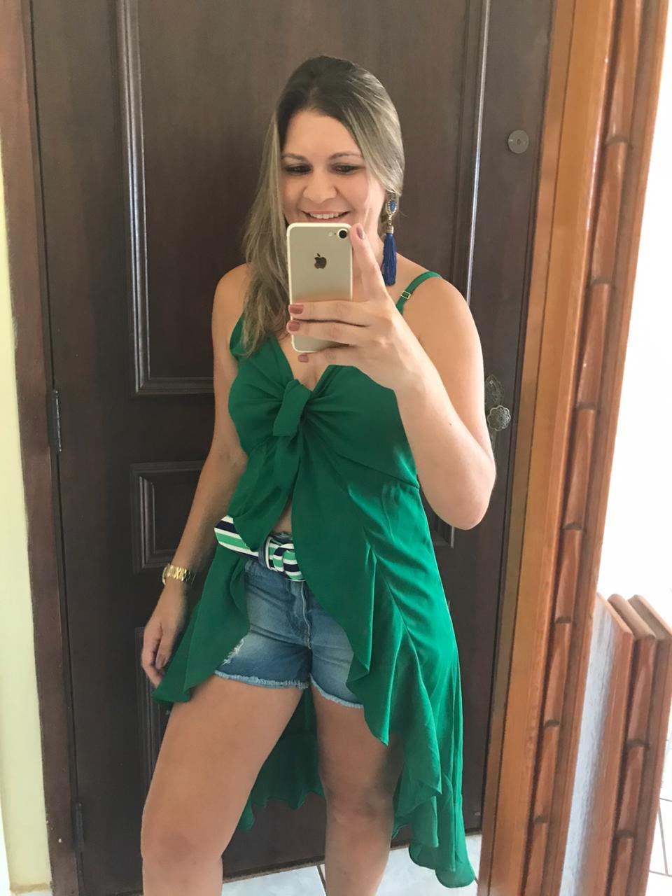 Blusa Alcinha Capa Verde com Babados