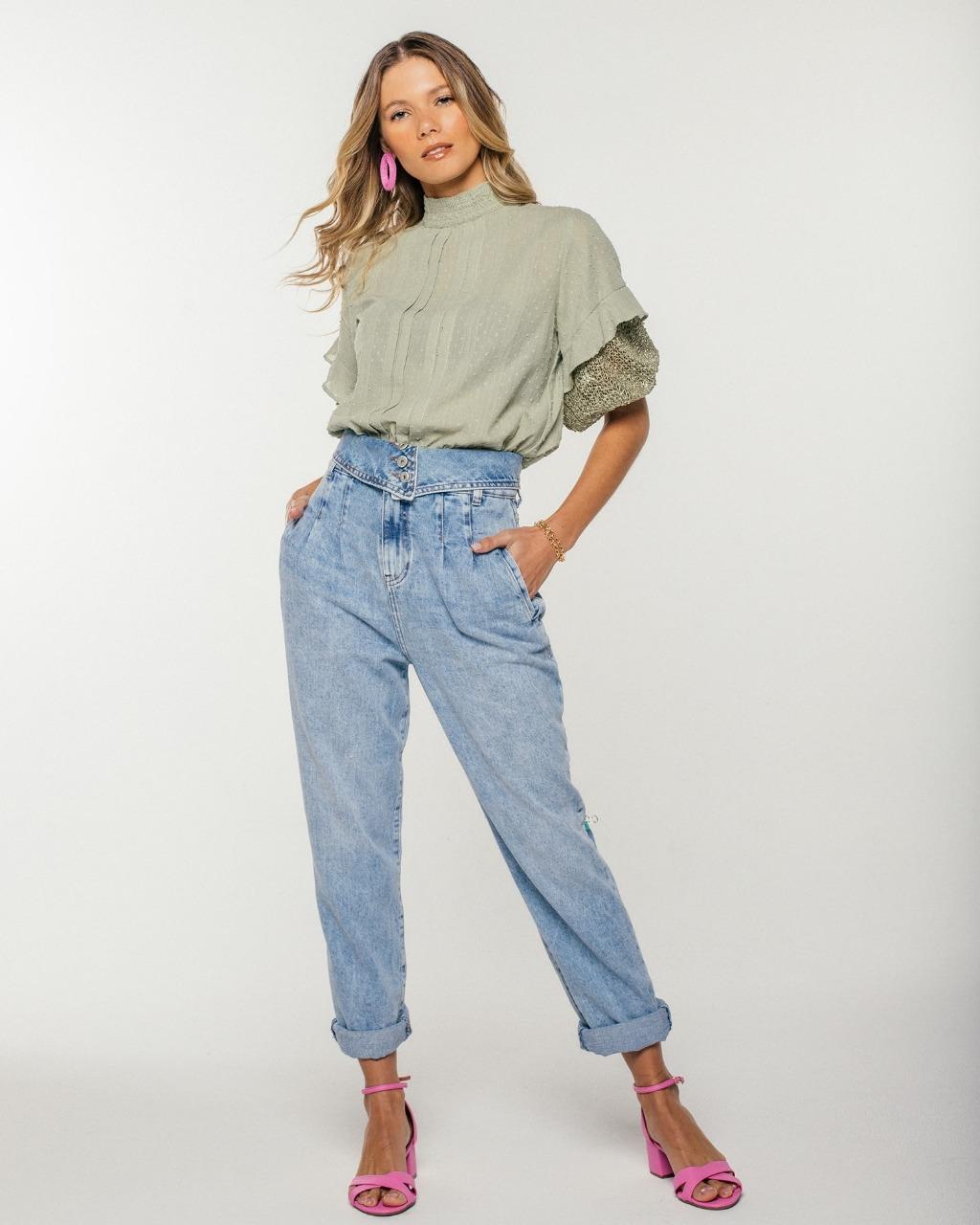 Calça Jeans Clara Designer com Cós Dobrado