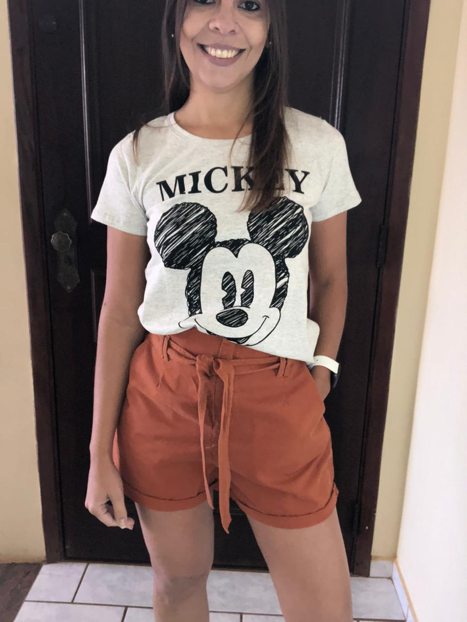 T-Shirt Manga Curta Mescla do Mickey