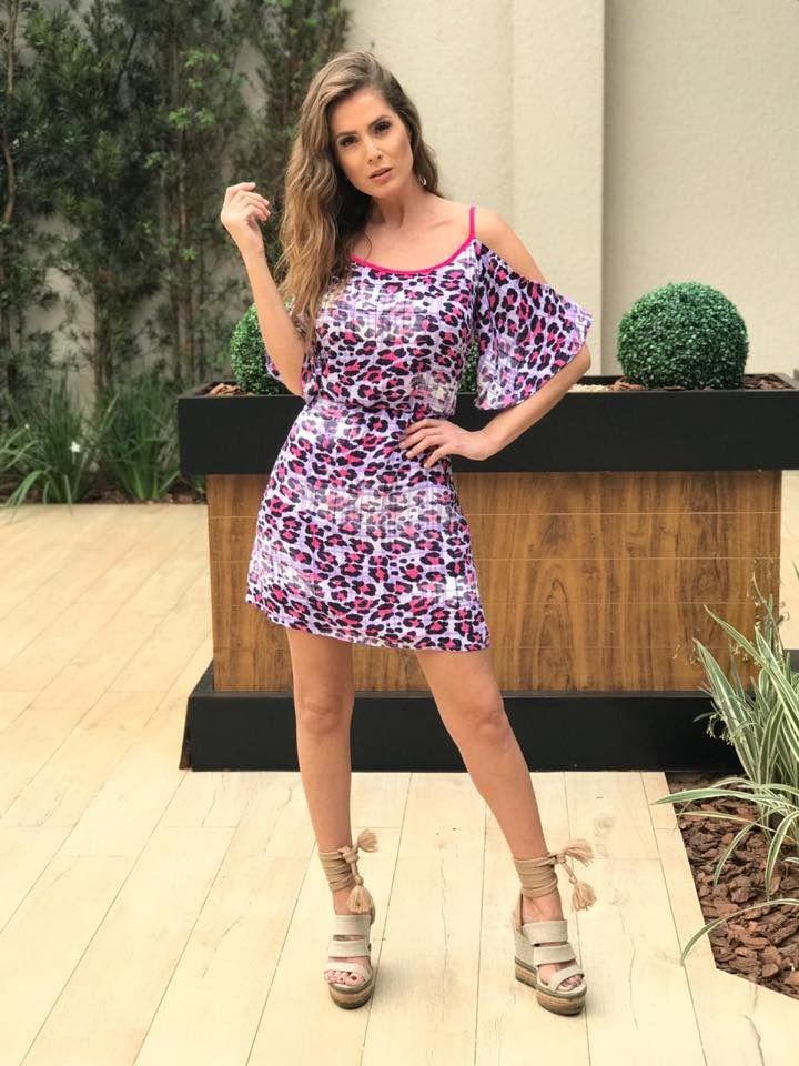 c3e706e260 Vestido Alça com Estampa Animal Print e Detalhes em Neon - PM Fashion