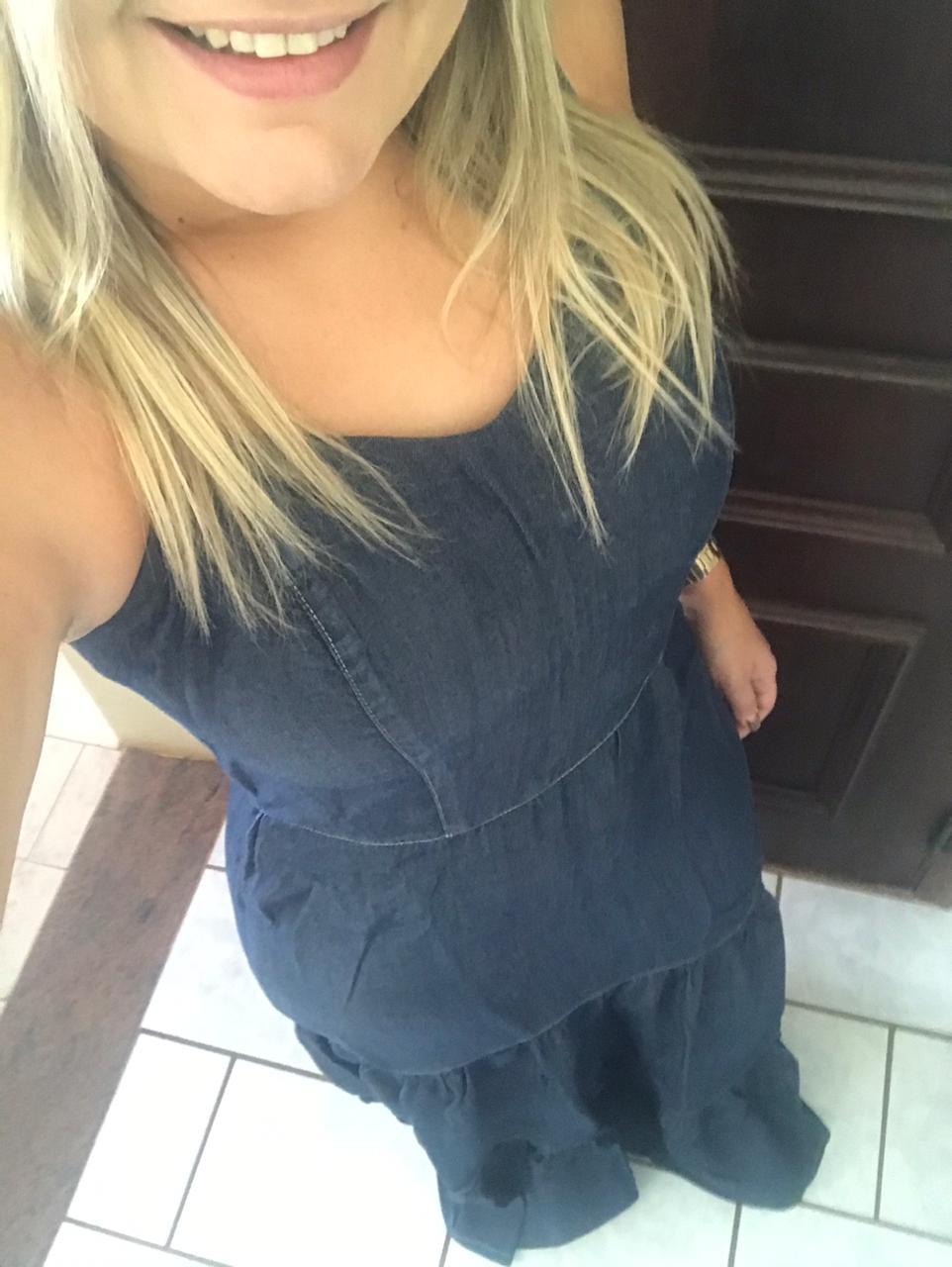 Vestido Alcinha Longo em Camadas Jeans