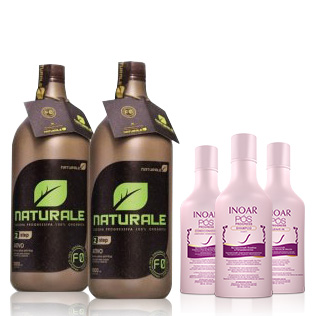 Escova Progressiva NATURALE - Orgânica - 1000ml + Kit Pós Progress INOAR 250ml (Shampoo, Condicionador e Leave-in)