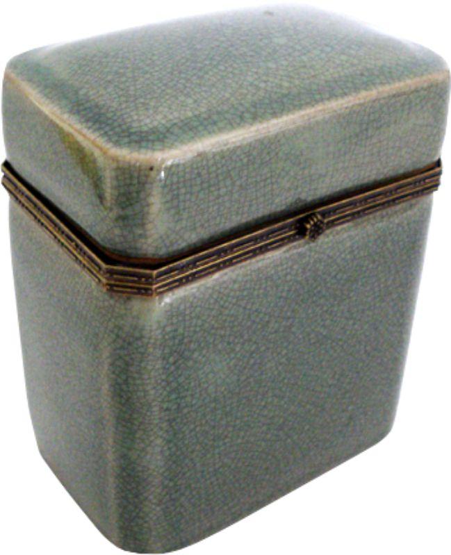 CAIXA ALTA OLD GREEN OCTAGONAL COM BRONZE  - DECORASIA - Importadora de móveis e objetos